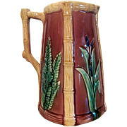 "1880's Large English Majolica Pitcher ""Fern & Cattails"""