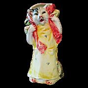 Circa 1900 Majolica Girl Cat Bud Vase
