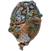 "Vintage 1930's Cast Iron Doorknocker ""French Flower Basket"""