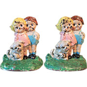 """1930's Cast Iron Bookends """"Dolly and Bobby""""Hubley#498"""