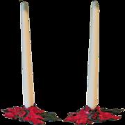 Vintage 1922 Cast Iron Christmas Poinsettia Candleholders