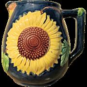 Circa 1880 Antique Majolica Sunflower Pitcher