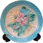 19th Century Majolica Plate Pink Flowers and Ferns