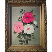 Vintage Hibiscus Flower Oil Painting In Original Gold Gesso Picture Frame