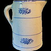 Circa 1900 Blue and White Stoneware Wildflower Stenciled Pitcher