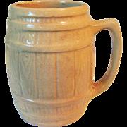 Circa 1900 Yellow Ware Barrel Stave Design Mug