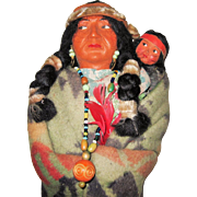 Circa 1920 Skookum Indian Doll With Papoose and Original Sticker