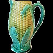 Circa 1880's English Majolica Corn Pitcher
