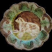 Circa 1880 Majolica Sheep Dog With Doghouse Platter