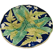 Circa 1880 English Majolica Plate Fern Leaves On Cobalt Blue Background