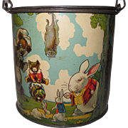Circa 1920's Tindeco Peter Rabbit Candy Tin With Bail Handle Harrison Cady Illustrations