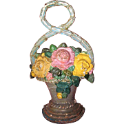 Circa 1930's Cast Iron Rose Flower Basket Doorstop