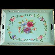 Vintage Toleware Floral Serving Tray
