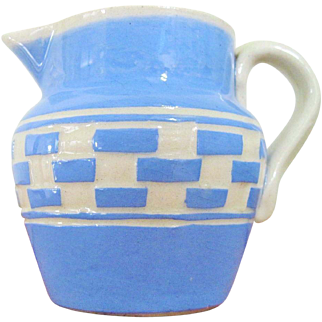 Vintage Checkerboard Mochaware Creamer Blue and White