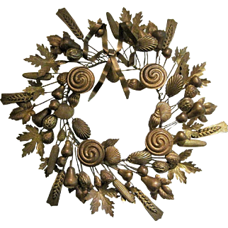 Vintage Ultimate Large Brass Petites Choses Wreath With Seashells, Grains, Nuts , Fruit And Leaves