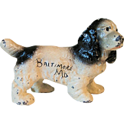 Old Hubley Cast Iron Paper Weight Black and White Cocker Spaniel Dog with Advertising for Baltimore, Maryland