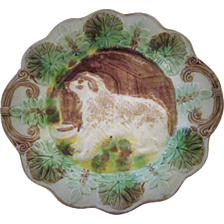 Circa 1880's American Dog With Doghouse Platter