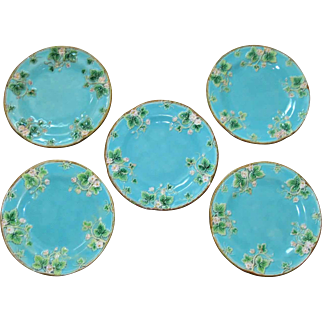 Five English George Jones Majolica Plates Circa 1880