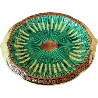 Circa 1880 English Majolica Motto Bread Platter Wheat Pattern