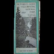 Yellowstone National Park Motorist Guide Circa 1937