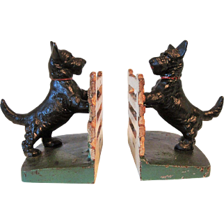 Circa 1930's Hubley Cast Iron Scotty on Fence Bookends