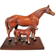 Circa 1930's Hubley Mare Horse and Colt on Oak Base