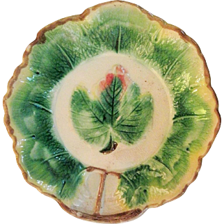 Circa 1880 Majolica Large Bowl  With Leaf Center