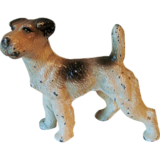 1930's Hubley Cast Iron Wire Haired Terrier Dog Paper Weight