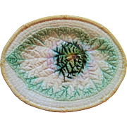 1880's Majolica Large Platter with Begonia Leaf Center