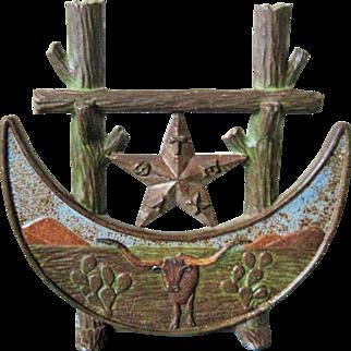 Rare Texas 1936 Centennial Cast Iron Doorstop