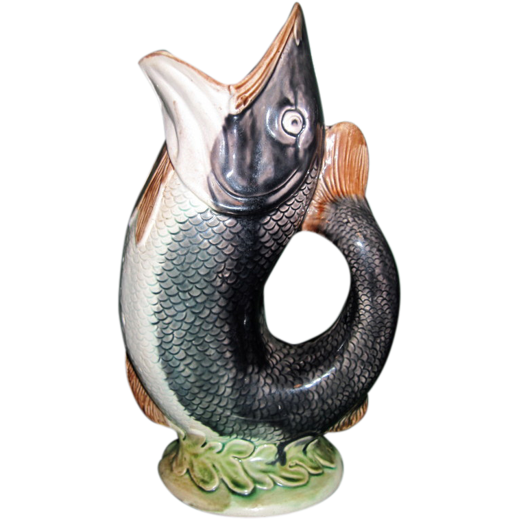 1880 s english majolica gurgling fish pitcher from gaylegreen on ruby lane - Fish pitcher gurgle ...