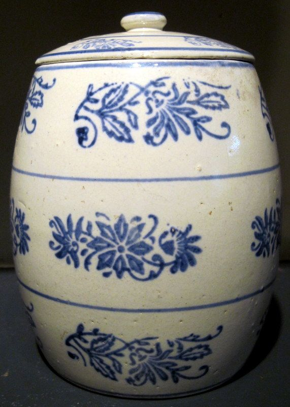 Blue and White Stoneware Wildflower Canister for Oatmeal from ...