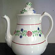 Very Rare 1800's  Spatter Ware Sponge Ware Teapot