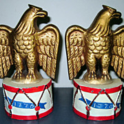 Cast Iron Patriotic Eagle Bookends 4th of July