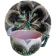 Circa 1880 Etruscan Majolica Shell & Seaweed Cup and Saucer