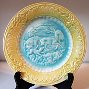 "Circa 1880's Majolica Plate ""Dog and Stag"""