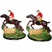 "Pair of 1930's Hubley ""Steeplechase"" Cast Iron Bookends"