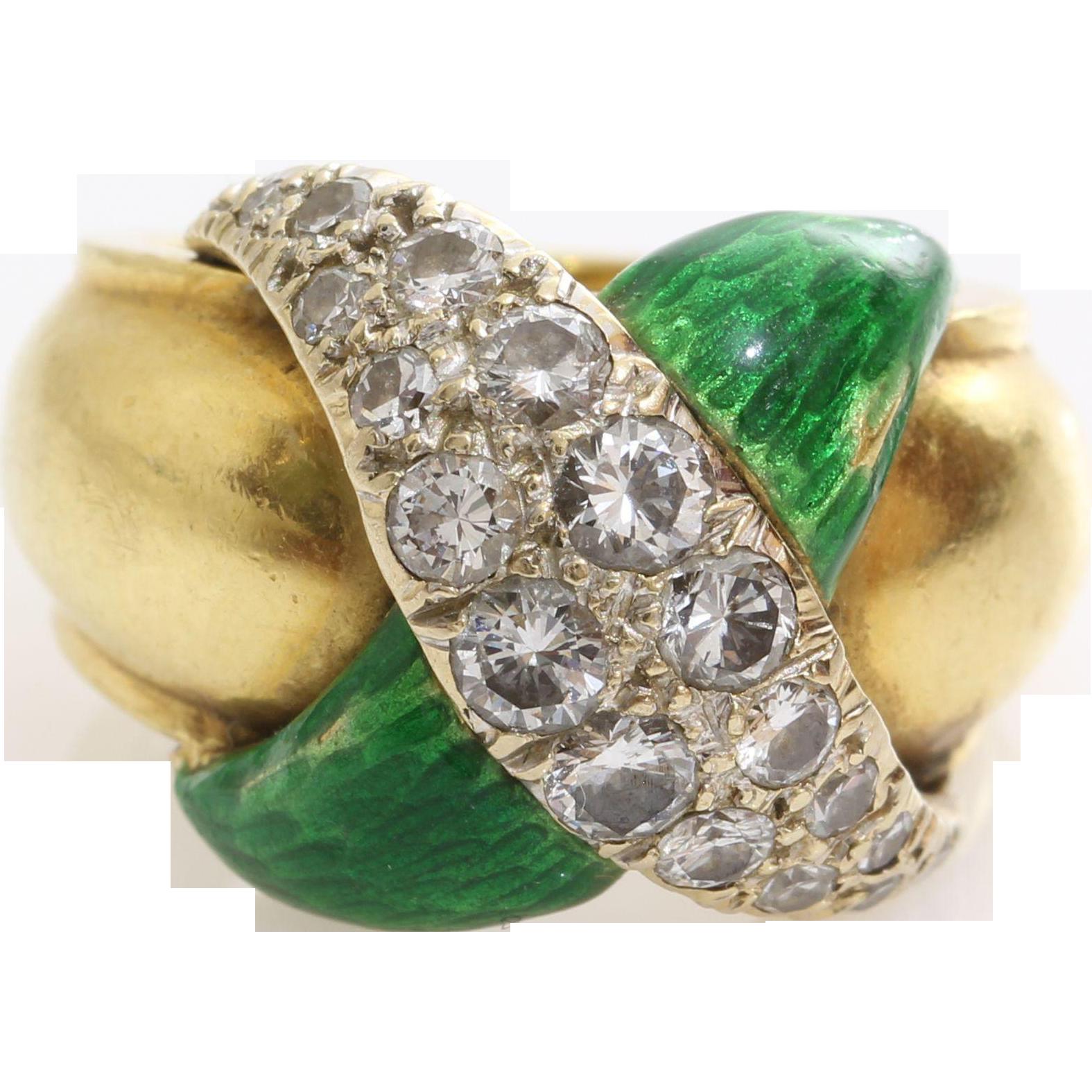 Diamond Pinky Ring 18k Yellow Gold Vintage Green