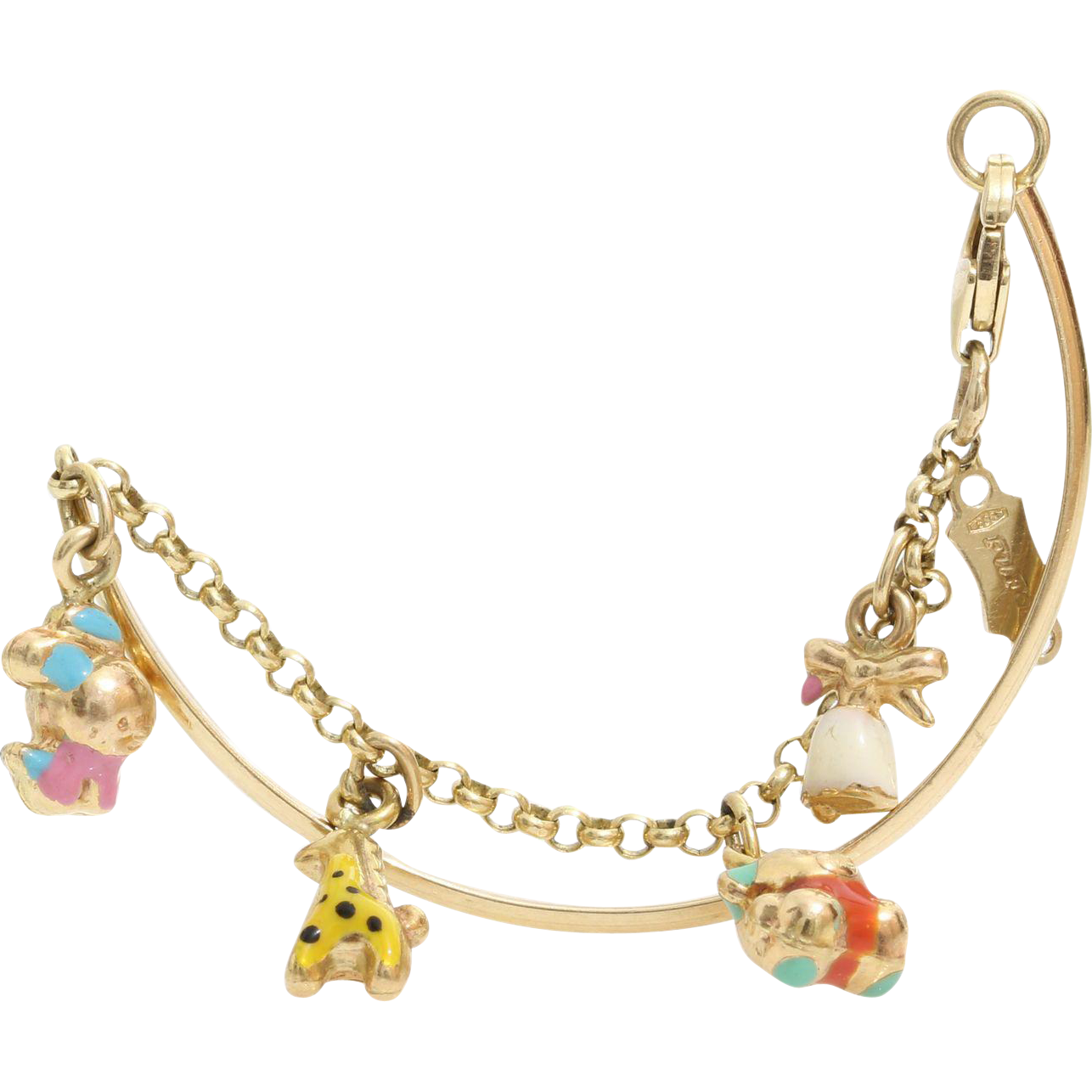 Girls Charm Bangle Bracelet | 14K Yellow Gold Enamel | Vintage USA Kid