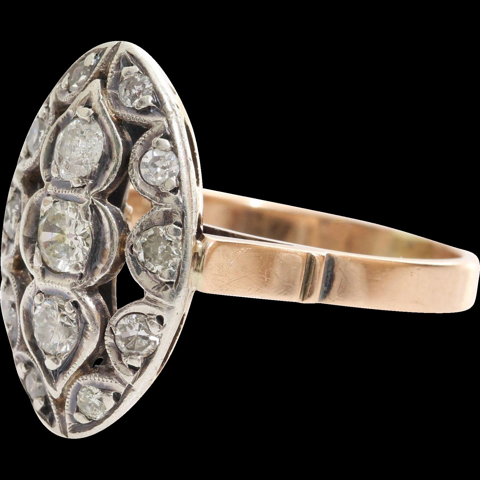 Art Deco Diamond Ring   14K Rose White Gold   Vintage Navette Cocktail