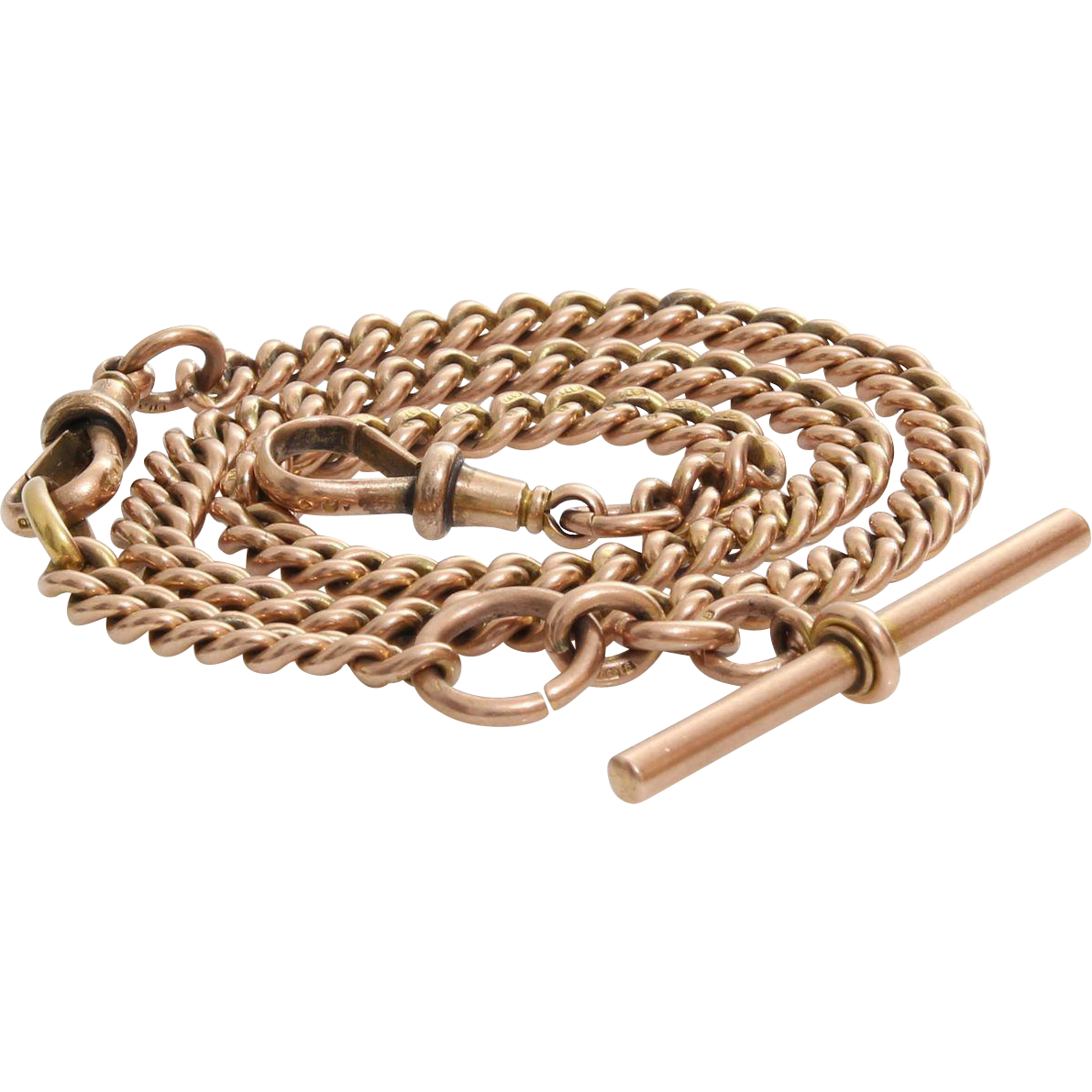Pocket Watch Albert Chain | 9K Rose Gold | Victorian Antique Link Fob