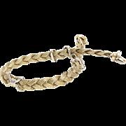Gold Braided Bracelet | 14K Yellow White | Vintage Italy Bicolor X