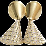 Gold Drop Earrings | 14 Karat Bicolor | Vintage Dangle Italy Yellow