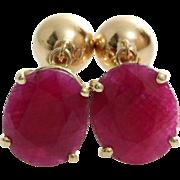 Oval Ruby Drop Earrings   14K Yellow Gold   Vintage Dangle Israel