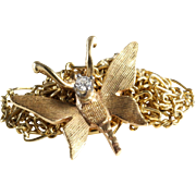 Butterfly Pendant Necklace   14K Gold Diamond   Vintage Chain Italy