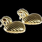 Heart Drop Earrings | 18K Yellow Gold | Vintage Dangle Omega Back