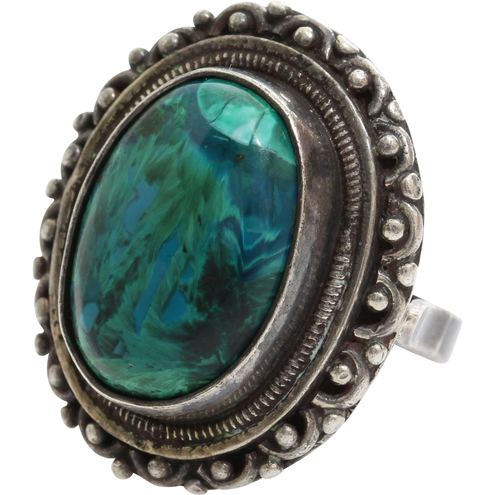 Eilat Stone Ring | Sterling Silver Cabochon | Vintage Cocktail Israel