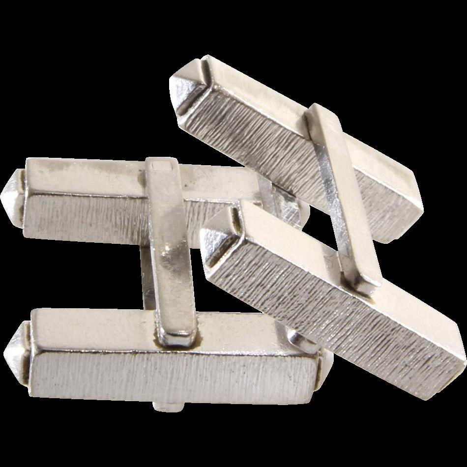 18k white gold cufflinks vintage mens rectangular