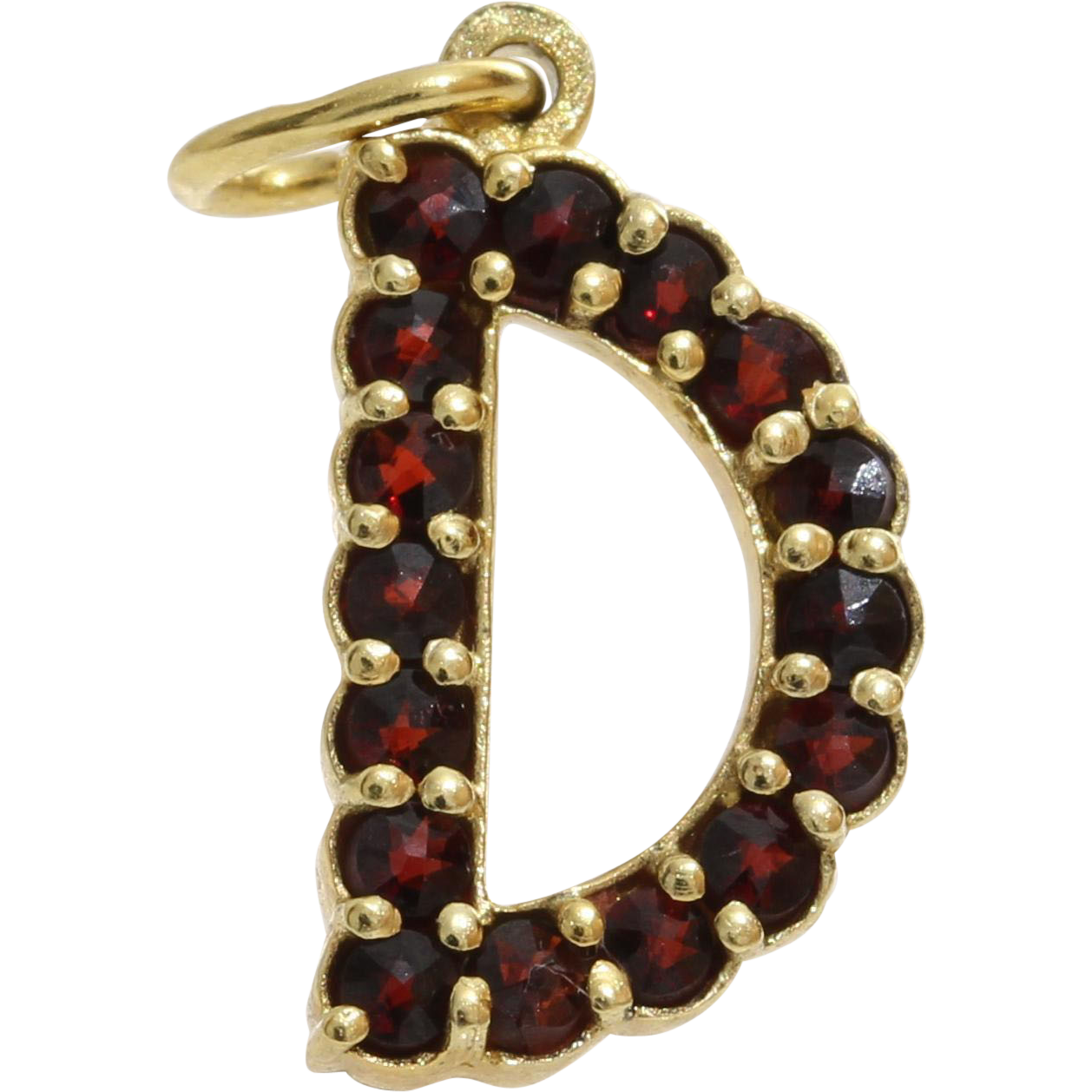 Georgian Letter D Pendant | Bohemian Garnet Silver | Antique France