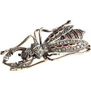 Antique Bug Brooch | Diamond Ruby 14K Gold | Insect Beetle Russian Pin